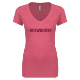 Next Level Ladies Vintage Pink Tri Blend V Neck Tee-Milwaukee Wordmark Hot Pink Glitter