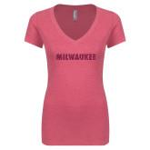 Next Level Ladies Vintage Pink Tri Blend V Neck Tee-Milwaukee Wordmark Hot Pink Glitter