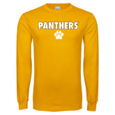 Gold Long Sleeve T Shirt-Panthers w/ Paw