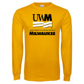 Gold Long Sleeve T Shirt-University Mark Stacked
