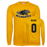 Gold Long Sleeve T Shirt-Official Logo, Custom Tee w/ Name and #