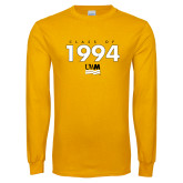Gold Long Sleeve T Shirt-Class Of Personalized Year Stacked, Personalized year