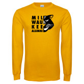 Gold Long Sleeve T Shirt-Milwaukee Alumni Right Side Face