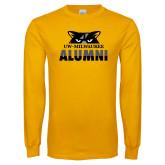 Gold Long Sleeve T Shirt-Milwaukee Alumni Top of Face