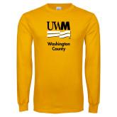 Gold Long Sleeve T Shirt-UWN Washington County vertical