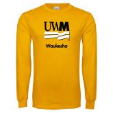 Gold Long Sleeve T Shirt-UWN Waukesha Vertical