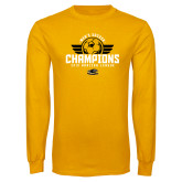 Gold Long Sleeve T Shirt-2019 Mens Soccer Champs