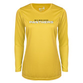 Ladies Syntrel Performance Gold Longsleeve Shirt-Milwaukee Stacked