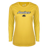 Ladies Syntrel Performance Gold Longsleeve Shirt-Panthers Script
