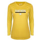 Ladies Syntrel Performance Gold Longsleeve Shirt-Basketball Bar Design