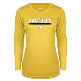 Ladies Syntrel Performance Gold Longsleeve Shirt-Baseball Bar Design