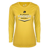 Ladies Syntrel Performance Gold Longsleeve Shirt-Baseball Abstract Plate Design
