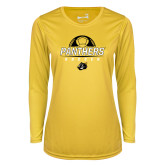 Ladies Syntrel Performance Gold Longsleeve Shirt-Soccer Ball Design