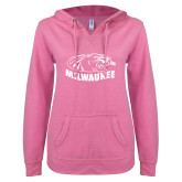 ENZA Ladies Hot Pink V Notch Raw Edge Fleece Hoodie-Official Logo