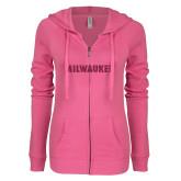 ENZA Ladies Hot Pink Light Weight Fleece Full Zip Hoodie-Milwaukee Wordmark Hot Pink Glitter