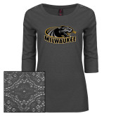 Ladies Charcoal Heather Lace 3/4 Sleeve Tee-Official Logo