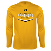 Performance Gold Longsleeve Shirt-Baseball Abstract Plate Design
