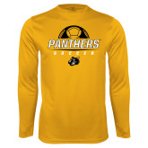 Syntrel Performance Gold Longsleeve Shirt-Soccer Ball Design