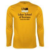 Performance Gold Longsleeve Shirt-Lubar School of Business Executive MBA