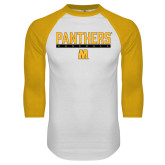 White/Gold Raglan Baseball T Shirt-Baseball Bar Design