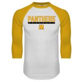 White/Gold Raglan Baseball T Shirt-Baseball Bar Design