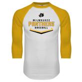 White/Gold Raglan Baseball T Shirt-Baseball Abstract Plate Design