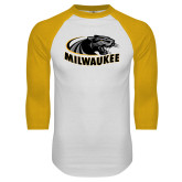White/Gold Raglan Baseball T Shirt-Official Logo