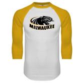 White/Gold Raglan Baseball T Shirt-Official Logo