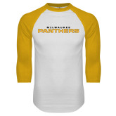 White/Gold Raglan Baseball T Shirt-Milwaukee Stacked