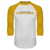 White/Gold Raglan Baseball T Shirt-Milwaukee Stacked