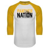 White/Gold Raglan Baseball T Shirt-Panther Nation