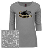 Ladies Grey Heather Lace 3/4 Sleeve Tee-Official Logo