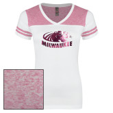 Ladies White/Heathered Pink Juniors Varsity V Neck Tee-Official Logo Foil