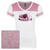 Ladies White/Heathered Pink Juniors Varsity V Neck Tee-Official Logo Foil