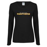 Ladies Black Long Sleeve V Neck T Shirt-Milwaukee Stacked
