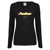 Ladies Black Long Sleeve V Neck Tee-Panthers Script