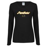Ladies Black Long Sleeve V Neck T Shirt-Panthers Script