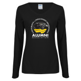Ladies Black Long Sleeve V Neck Tee-Alumni Association
