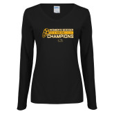 Ladies Black Long Sleeve V Neck Tee-2018 Womens Soccer Champions