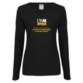 Ladies Black Long Sleeve V Neck Tee-Engineering and Applied Sciences