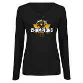 Ladies Black Long Sleeve V Neck Tee-2019 Womens Soccer Champs