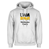 White Fleece Hoodie-UWN Washington County vertical