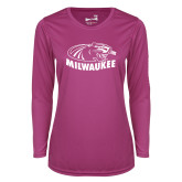 Ladies Syntrel Performance Raspberry Longsleeve Shirt-Official Logo