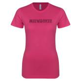 Ladies SoftStyle Junior Fitted Fuchsia Tee-Milwaukee Wordmark Hot Pink Glitter