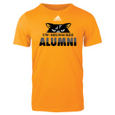 Adidas Gold Logo T Shirt-Milwaukee Alumni Top of Face
