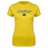 Ladies Syntrel Performance Gold Tee-Panthers Script