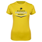Ladies Syntrel Performance Gold Tee-Baseball Abstract Plate Design
