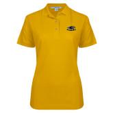 Ladies Easycare Gold Pique Polo-Official Logo