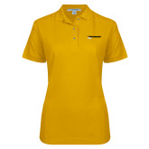 Ladies Easycare Gold Pique Polo-UW Milwaukee