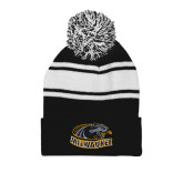Black/White Two Tone Knit Pom Beanie with Cuff-Official Logo
